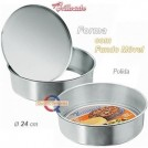 Forma de Aluminio Brilhante (p/Torta, Bolo e Pizza) com Fundo Movel (24cm)