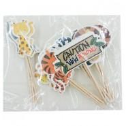 Enfeite p/Festa Caution Wild Animals (Cuidado Animais Selvagens) 20un
